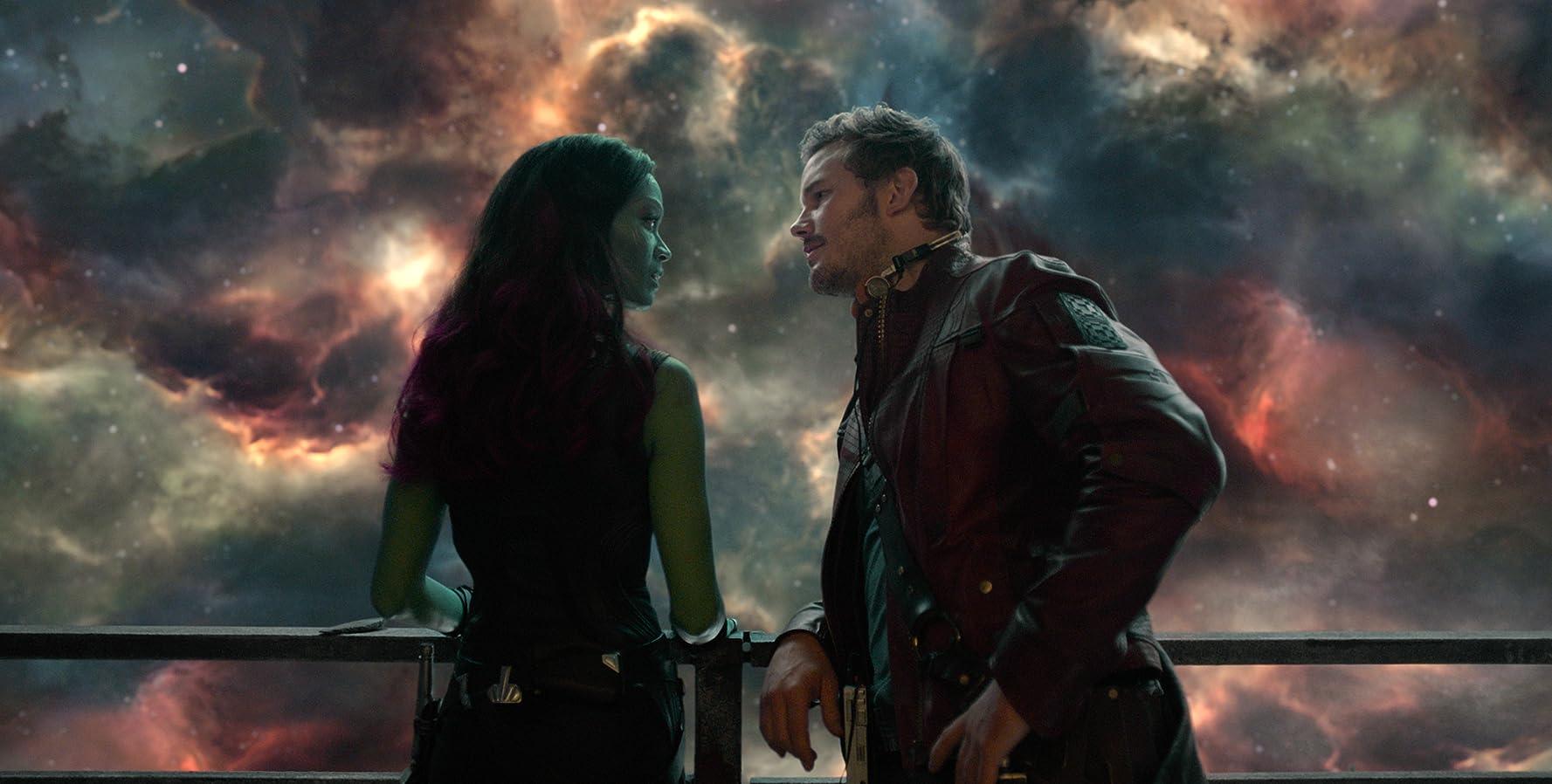 Chris Pratt and Zoe Saldana in Guardians of the Galaxy (2014)