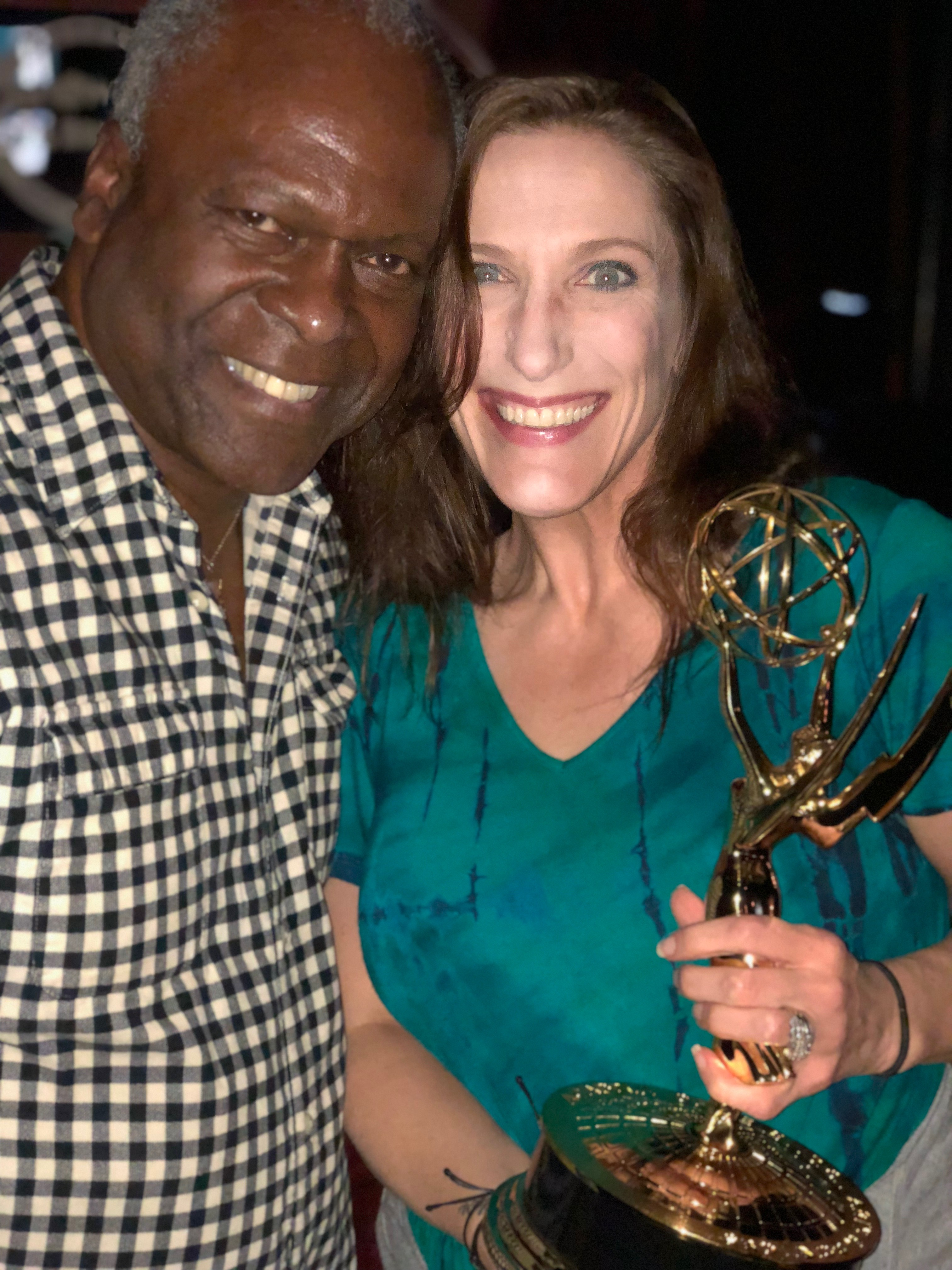 Bonnie Gillespie and Kim Estes with his first Emmy November 16, 2017.