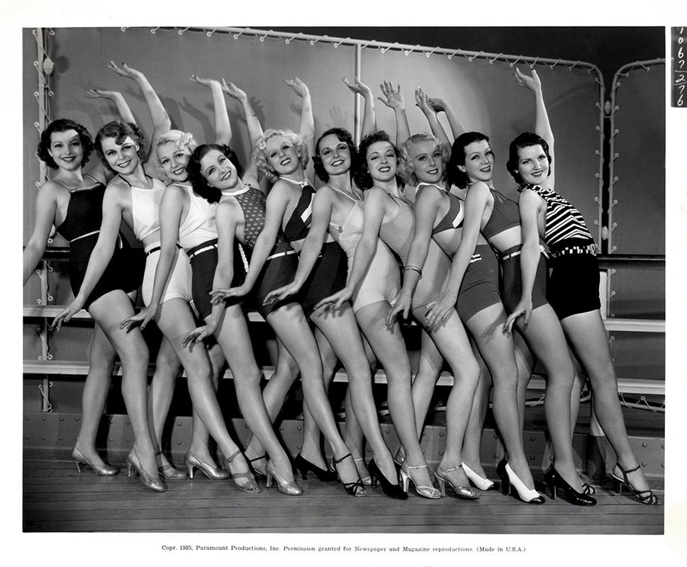 Bonita Barker, Myrla Bratton, Mary Dees, Claudia Fargo, Kay Gordon, Geneva Hall, Dolly Jarvis, Gwynne Shipman, Madeline Talcott, Dorothy Ward, Betty Woods, and Jane Wyman in Anything Goes (1936)