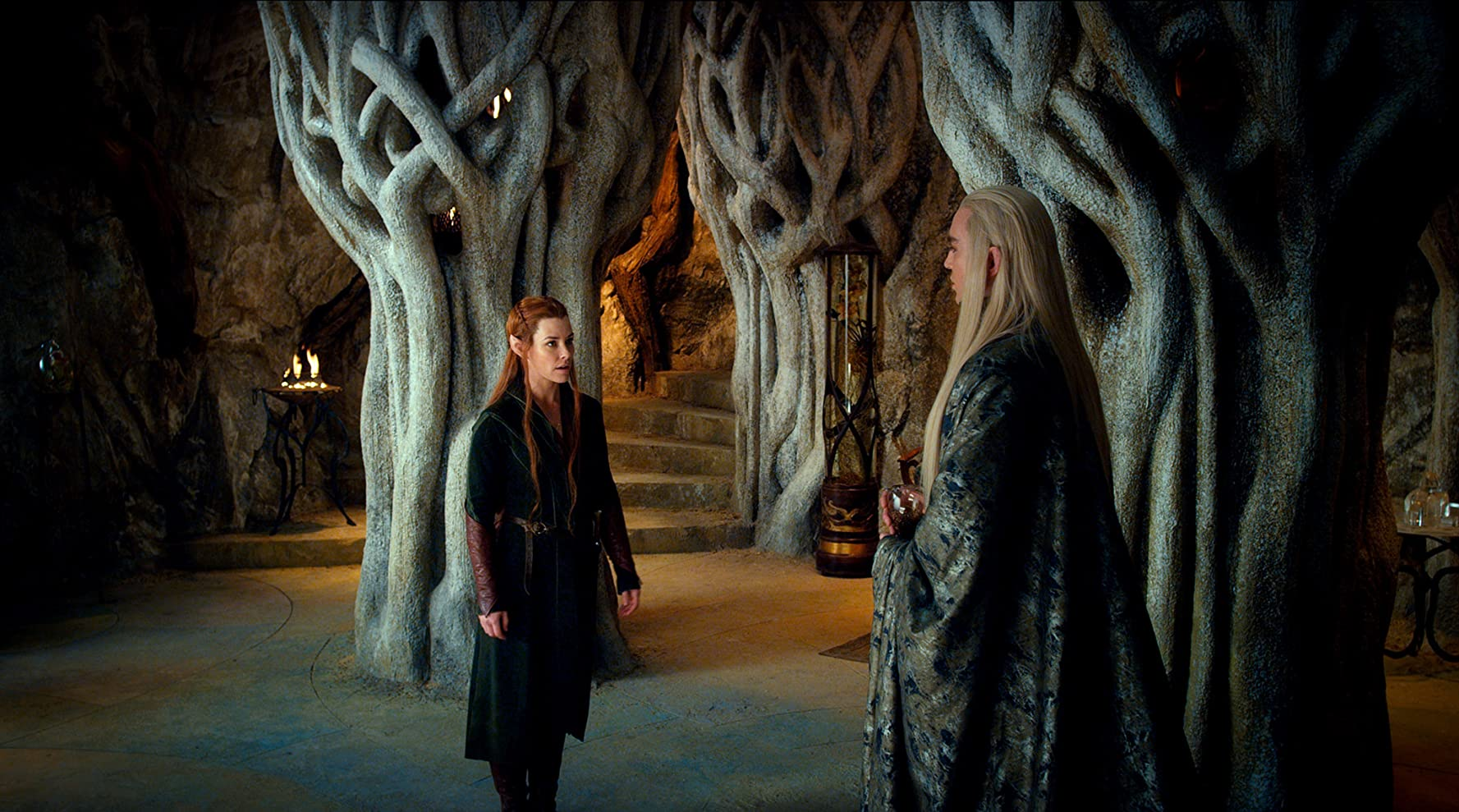 Lee Pace and Evangeline Lilly in The Hobbit: The Desolation of Smaug (2013)
