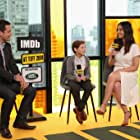 Olivia Munn, Dave Karger, and Jacob Tremblay at an event for The Predator (2018)
