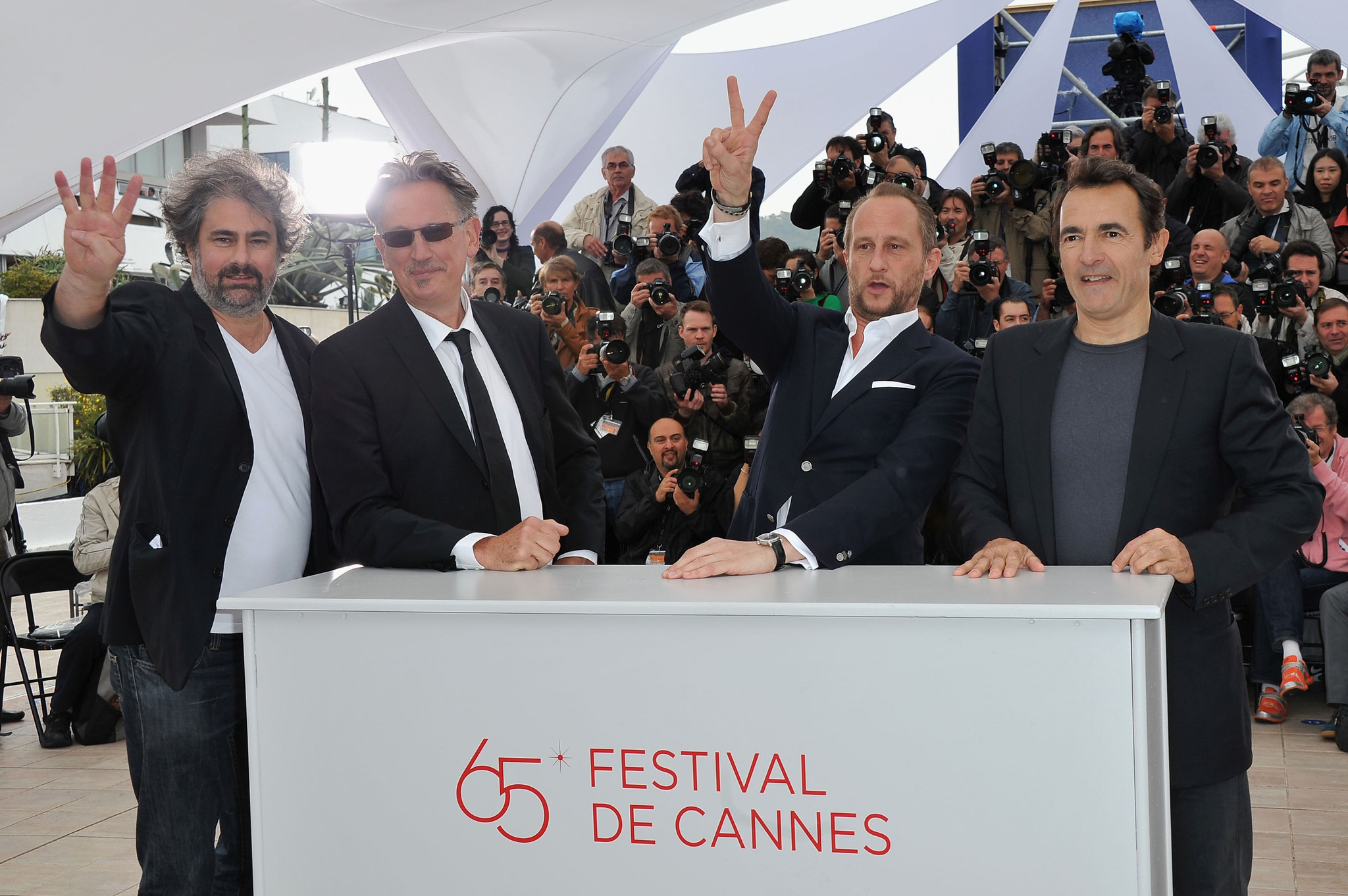 Benoît Delépine, Albert Dupontel, Benoît Poelvoorde, and Gustave Kervern at an event for Le grand soir (2012)