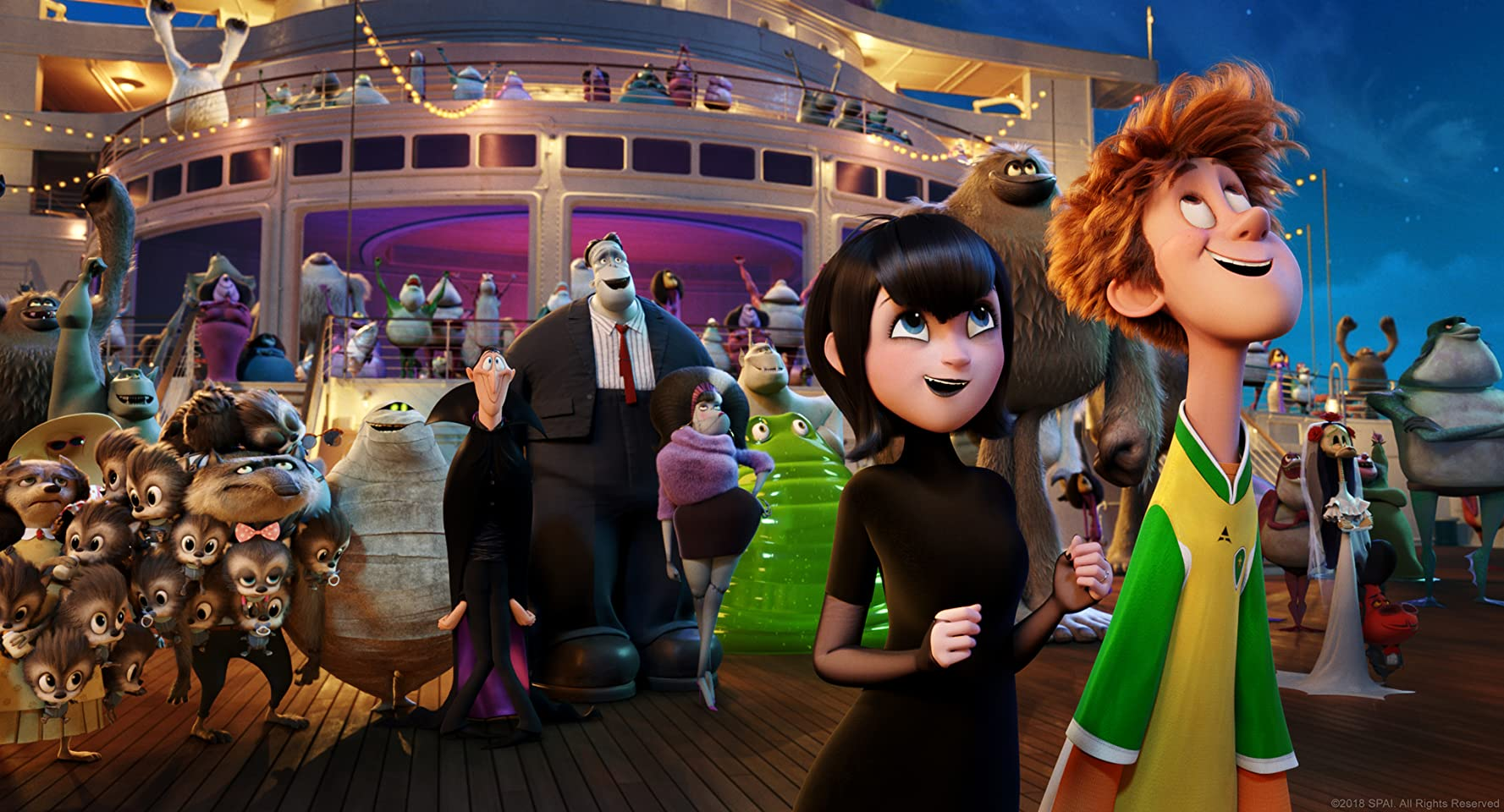 Steve Buscemi, Fran Drescher, Adam Sandler, David Spade, Kevin James, Molly Shannon, Genndy Tartakovsky, Keegan-Michael Key, Selena Gomez, and Andy Samberg in Hotel Transylvania 3: Summer Vacation (2018)