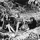 """Tarzan"" Maureen O'Sullivan, Cheetah, Johnny Weissmuller circa 1930s"