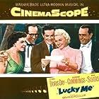 Doris Day, Robert Cummings, Eddie Foy Jr., Phil Silvers, and Nancy Walker in Lucky Me (1954)