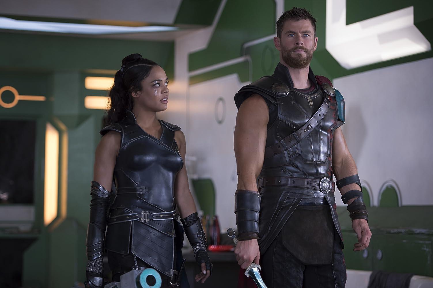 Chris Hemsworth and Tessa Thompson in Thor: Ragnarok (2017)