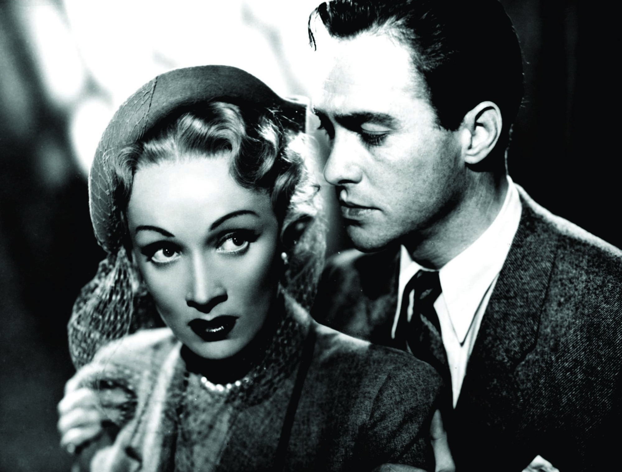 Marlene Dietrich and Richard Todd in Stage Fright (1950)