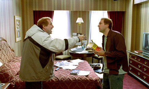 Twin-brothers Donald, left, and Charlie Kaufman (both played by Nicolas Cage) travel across the country in their attempt to unlock the mysteries of The Orchid Thief.