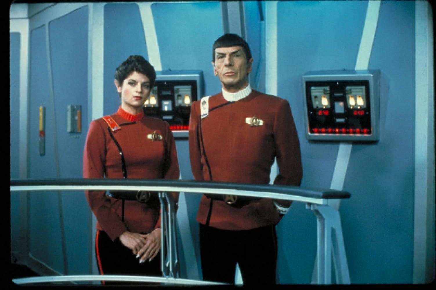 Kirstie Alley and Leonard Nimoy in Star Trek II: The Wrath of Khan (1982)