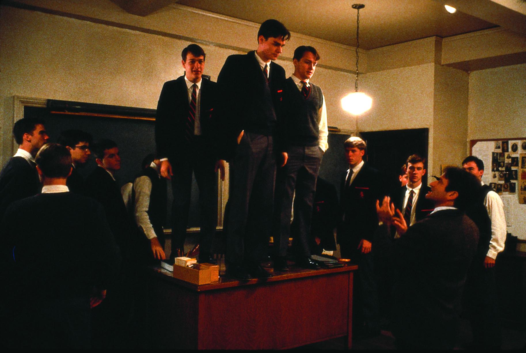 Robin Williams, Robert Sean Leonard, Josh Charles, and Gale Hansen in Dead Poets Society (1989)