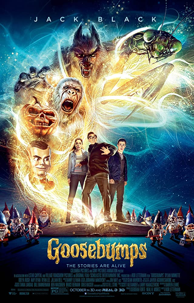 Jack Black, Dylan Minnette, and Odeya Rush in Goosebumps (2015)