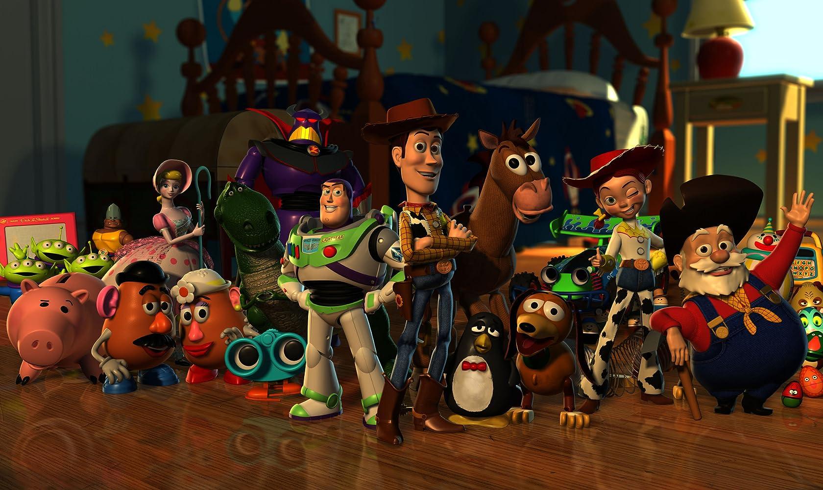Tom Hanks, Joan Cusack, Tim Allen, Kelsey Grammer, Annie Potts, John Ratzenberger, Wallace Shawn, Jim Varney, Andrew Stanton, Estelle Harris, Jeff Pidgeon, Joe Ranft, and Don Rickles in Toy Story (1995)