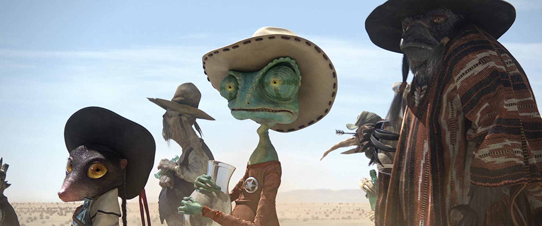 Johnny Depp, Gil Birmingham, and Abigail Breslin in Rango (2011)