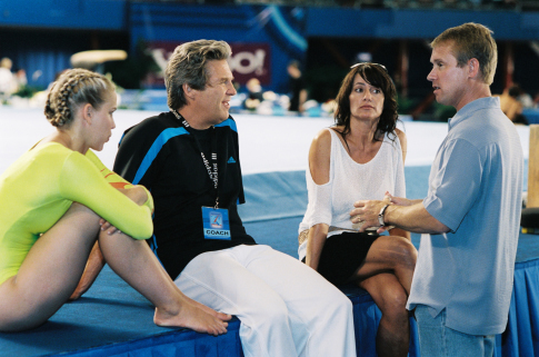 Jeff Bridges, Nadia Comaneci, Bart Conner, and Maddy Curley in Stick It (2006)