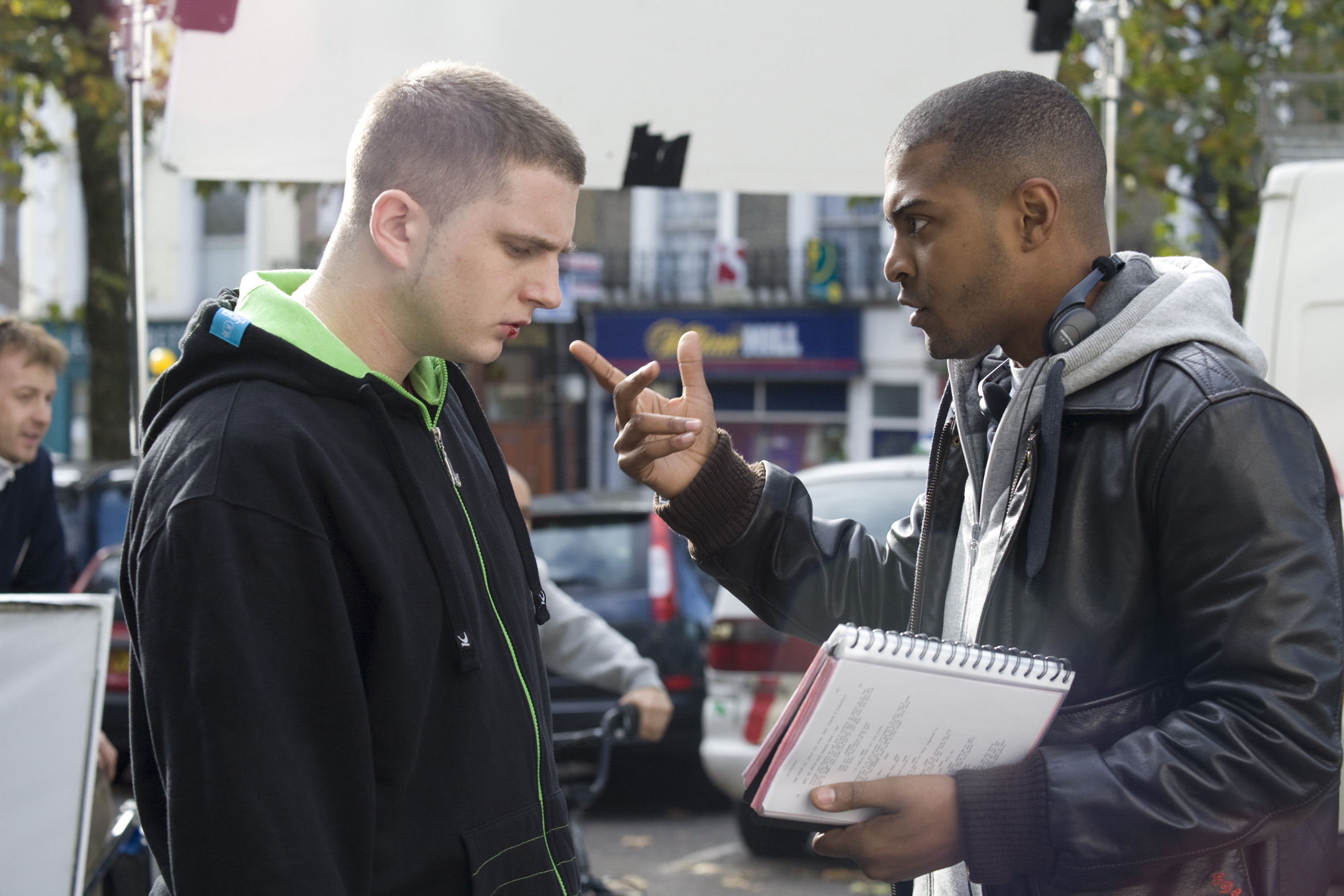 Noel Clarke directing Actor Ben drew on adulthood.
