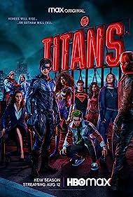 Minka Kelly, Savannah Welch, Alan Ritchson, Anna Diop, Conor Leslie, Ryan Potter, Brenton Thwaites, Curran Walters, and Teagan Croft in Titans (2018)