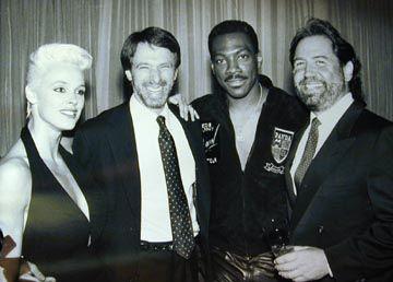 """Brigitte Nielsen, Jerry Bruckheimer, Eddie Murphy and Don Simpson.  (""""Beverly Hills Cop II"""")"""