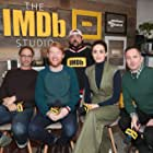 Emmy Rossum, Kevin Smith, Thomas Lennon, David Wain, and Domhnall Gleeson at an event for A Futile and Stupid Gesture (2018)