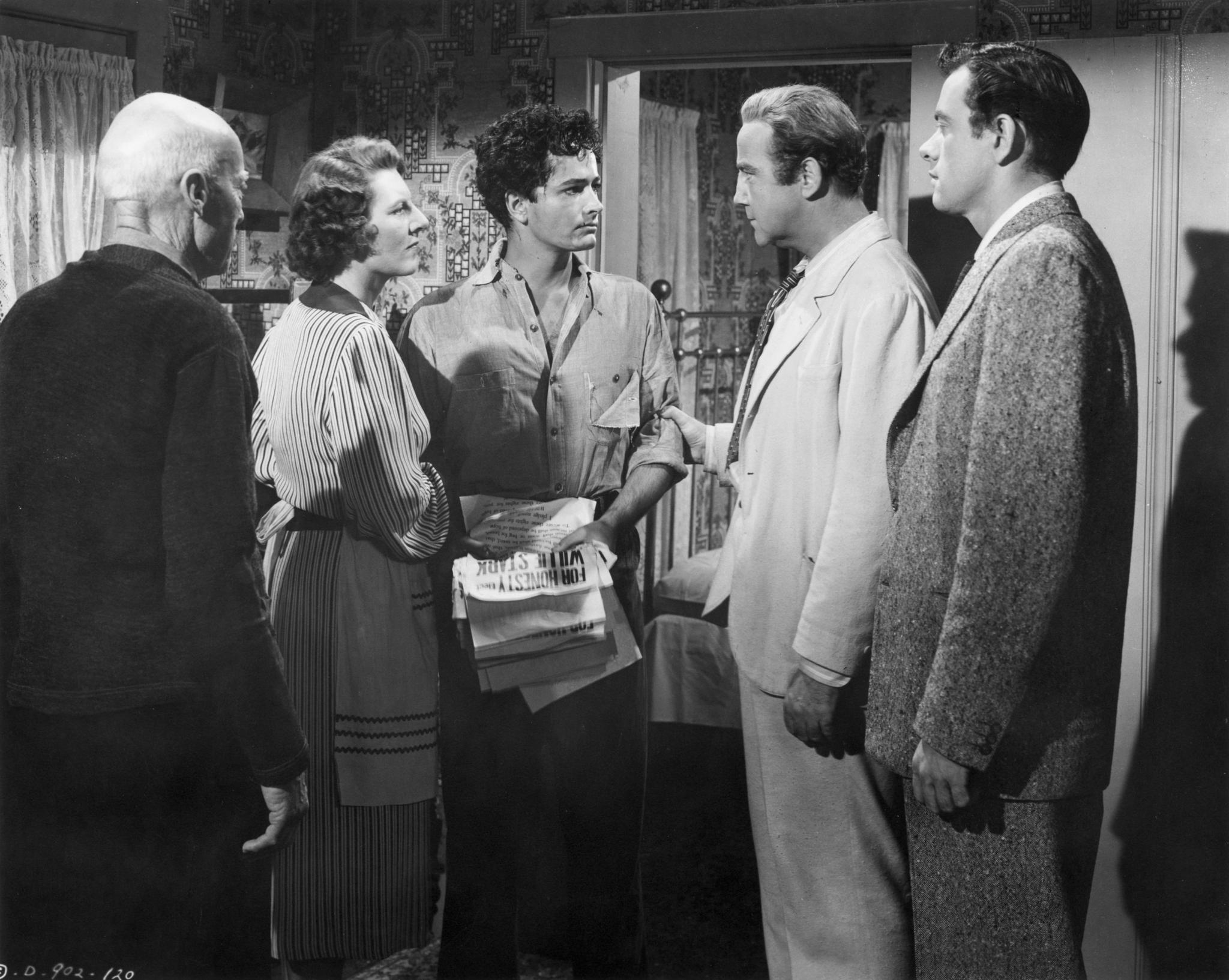 John Derek, Broderick Crawford, John Ireland, H.C. Miller, and Anne Seymour in All the King's Men (1949)