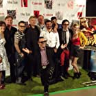 """Some of the cast & crew of """"The Ghastly Love of Johnny X"""" at Dances with Films green carpet."""