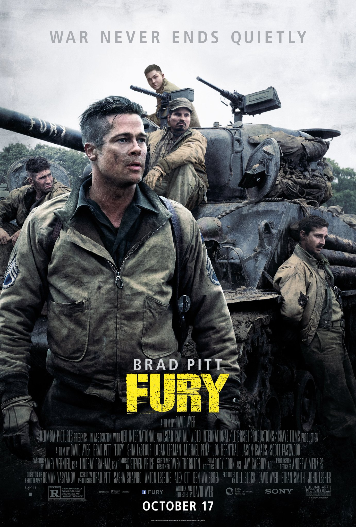 Fury (2014) 720p + 1080p BluRay x264 ESubs Dual Audio [Hindi DD2.0 + English DTS 5.1] 1.1GB + 4.84GB Download | Watch Online