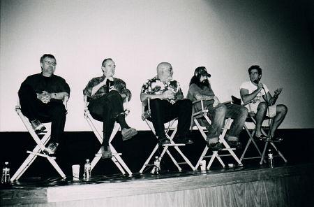 "Directors Tobe Hooper, Wes Craven, Stuart Gordon, Rob Zombie and Eli Roth at the 2003 Mania Fest ""Masters of Horror"" panel."