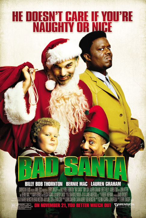 Billy Bob Thornton, Bernie Mac, Tony Cox, and Brett Kelly in Bad Santa (2003)