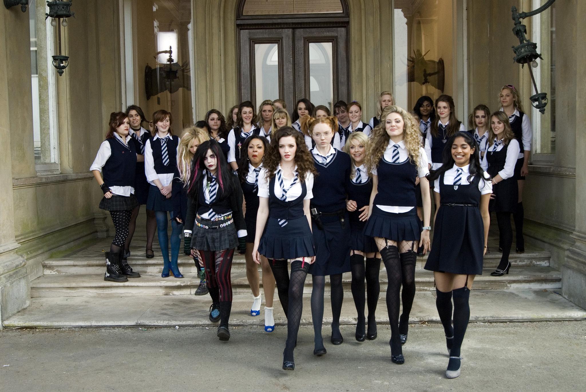 Kathryn Drysdale, Tamsin Egerton, Juno Temple, Talulah Riley, Antonia Bernath, Lily Cole, Amara Karan, and Paloma Faith in St. Trinian's (2007)