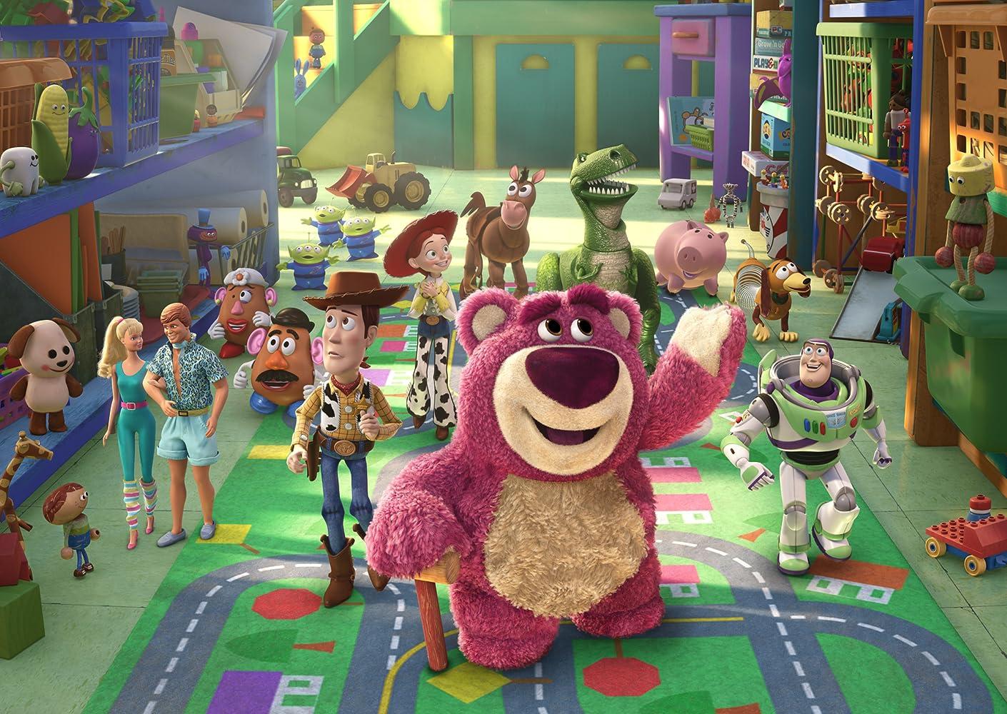 Tom Hanks, Joan Cusack, Michael Keaton, Tim Allen, Ned Beatty, John Ratzenberger, Wallace Shawn, Jodi Benson, Blake Clark, Estelle Harris, Jeff Pidgeon, and Don Rickles in Toy Story 3 (2010)