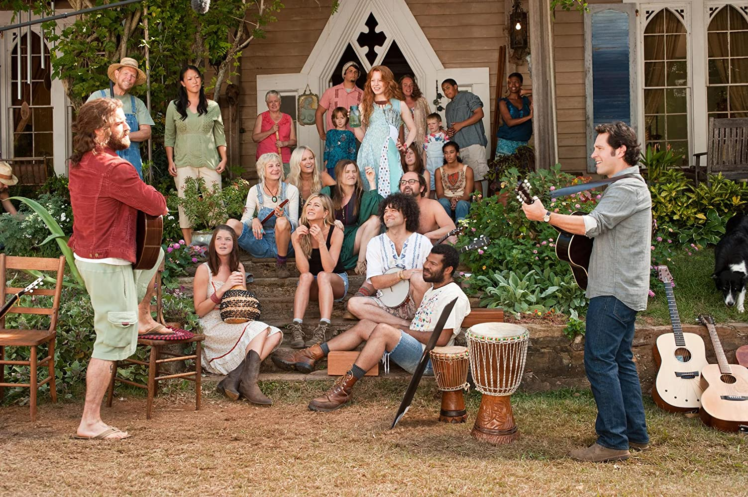 Jennifer Aniston, Malin Akerman, Lauren Ambrose, Kerri Kenney, Joe Lo Truglio, Paul Rudd, Justin Theroux, Peter Salett, Kathryn Hahn, and Jordan Peele in Wanderlust (2012)