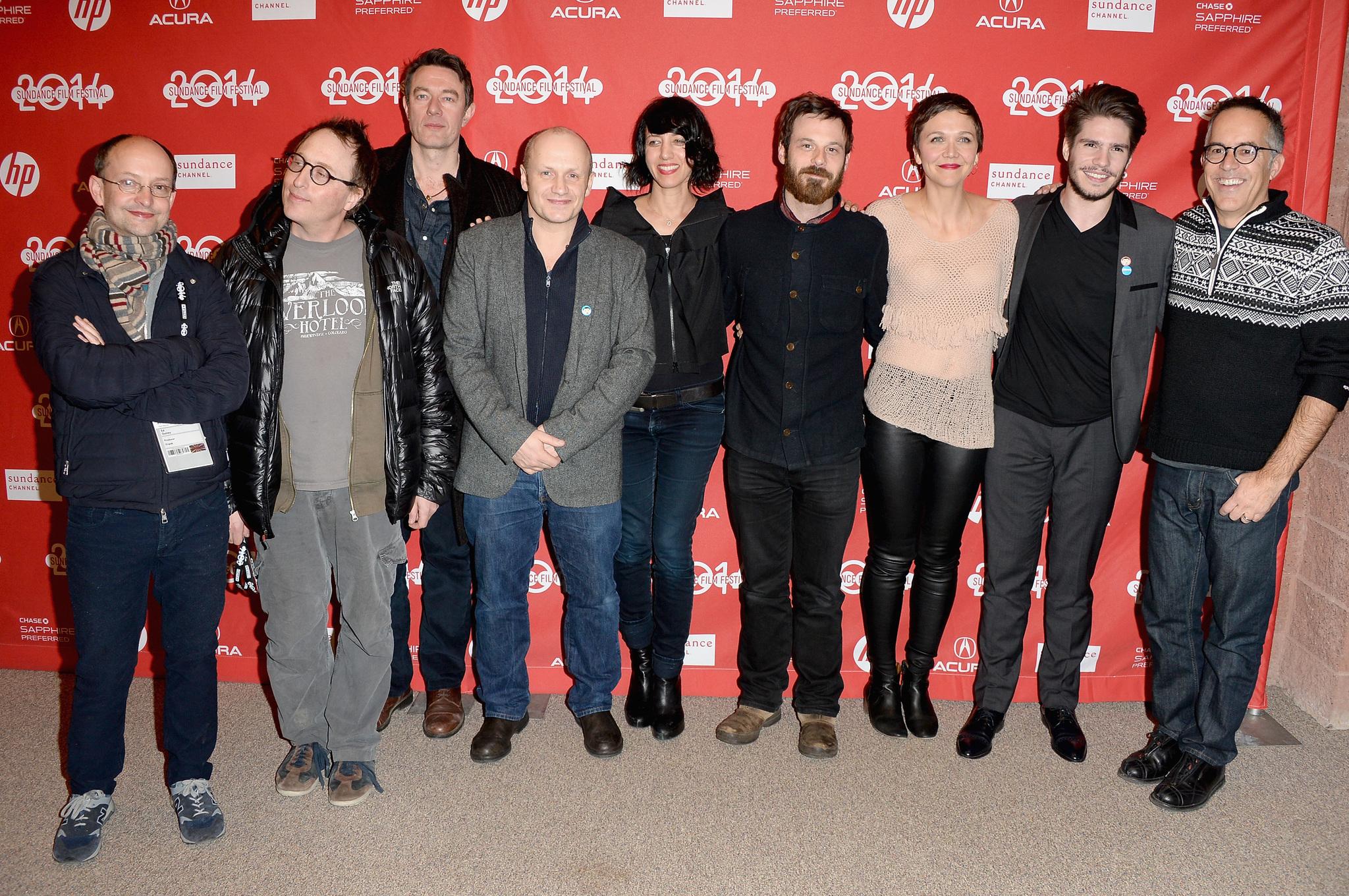 Ed Guiney, Maggie Gyllenhaal, Jon Ronson, Lenny Abrahamson, Scoot McNairy, Peter Straughan, John Cooper, François Civil, and Carla Azar at an event for Frank (2014)