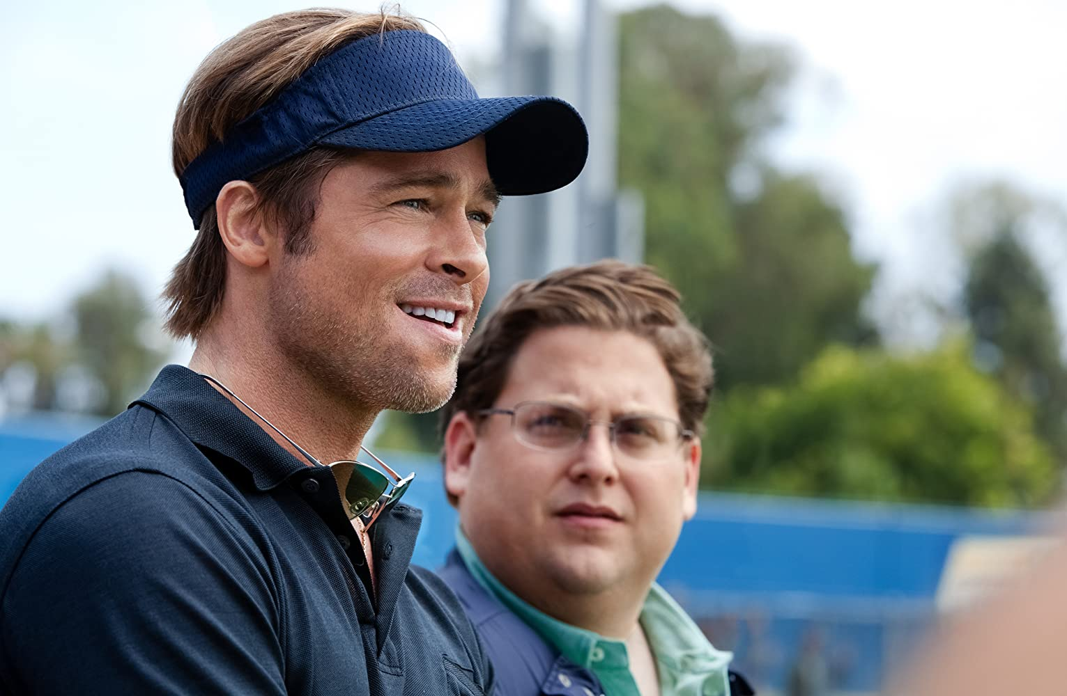 Brad Pitt and Jonah Hill in Moneyball (2011)