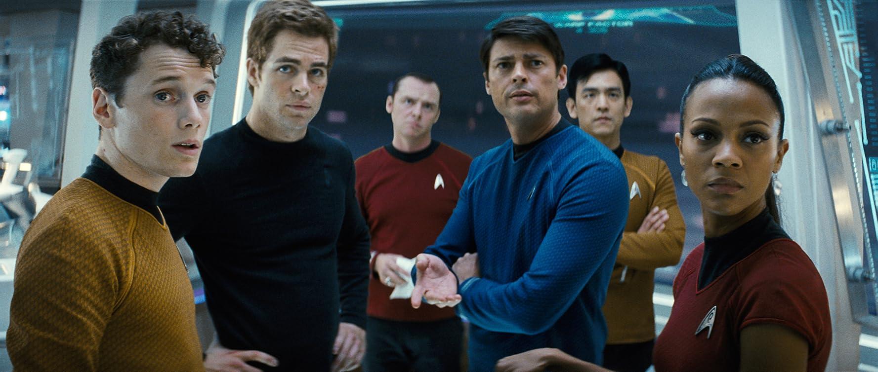 John Cho, Simon Pegg, Zoe Saldana, Karl Urban, Anton Yelchin, and Chris Pine in Star Trek (2009)