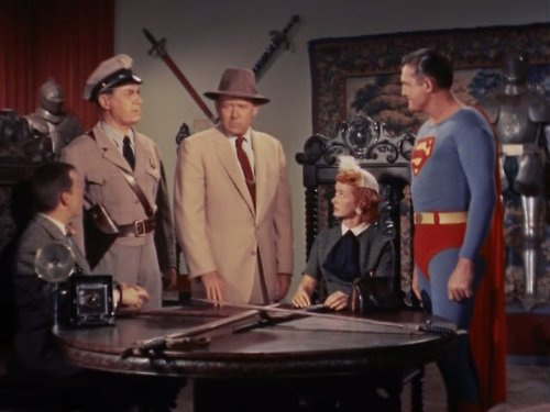 George Reeves, Tom Dillon, Noel Neill, and Robert Shayne in Adventures of Superman (1952)