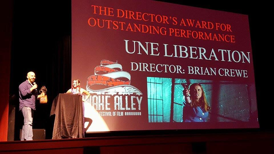 Brian Crewe winning the Best Director Award for UNE LIBÉRATION at the Snake Alley Festival of Film. 8/8/2015