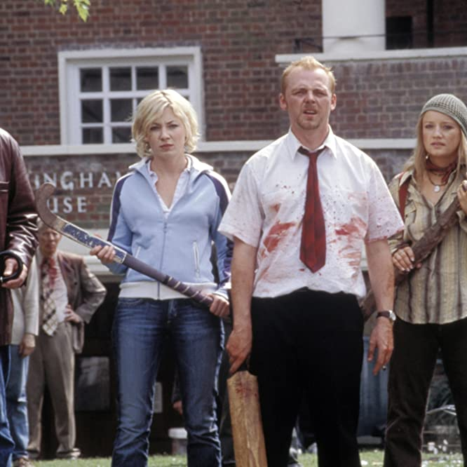 Kate Ashfield, Lucy Davis, Dylan Moran, and Simon Pegg in Shaun of the Dead (2004)