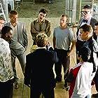 Brad Pitt, George Clooney, Don Cheadle, Matt Damon, Casey Affleck, Elliott Gould, Scott Caan, Eddie Jemison, and Shaobo Qin in Ocean's Twelve (2004)