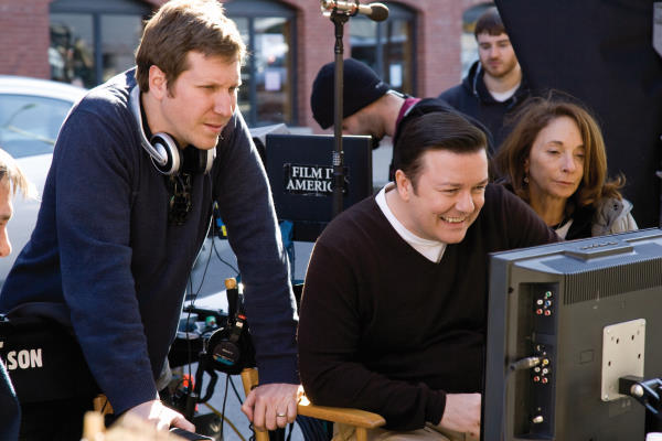 Ricky Gervais, Lynda Obst, and Matthew Robinson in The Invention of Lying (2009)