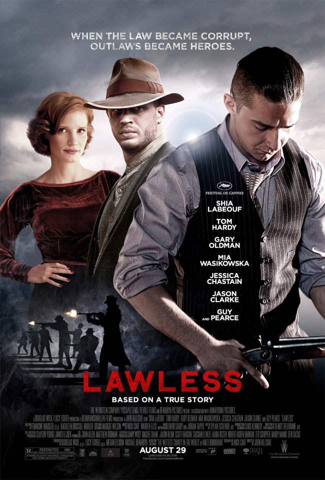 Tom Hardy, Shia LaBeouf, and Jessica Chastain in Lawless (2012)