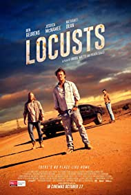 Ben Geurens, Nathaniel Dean, Heath Davis, Jessica McNamee, and Angus Watts in Locusts (2019)