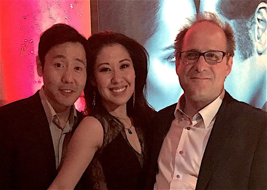 L to R: Rob Yang, Ruthie Ann Miles, Doug Honorof, March 5, 2016 at The Americans Season 4 NYC premiere event at Cipriani