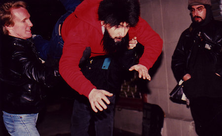 """Jack Shaoul insisted on doing his own stunts for the film """"Robot in the Family"""". Here he has ordered the crew to toss him on the sidewalk in NYC. There was no cushion or mat on the ground to soften his fall. He was hurt after this photograph was taken."""