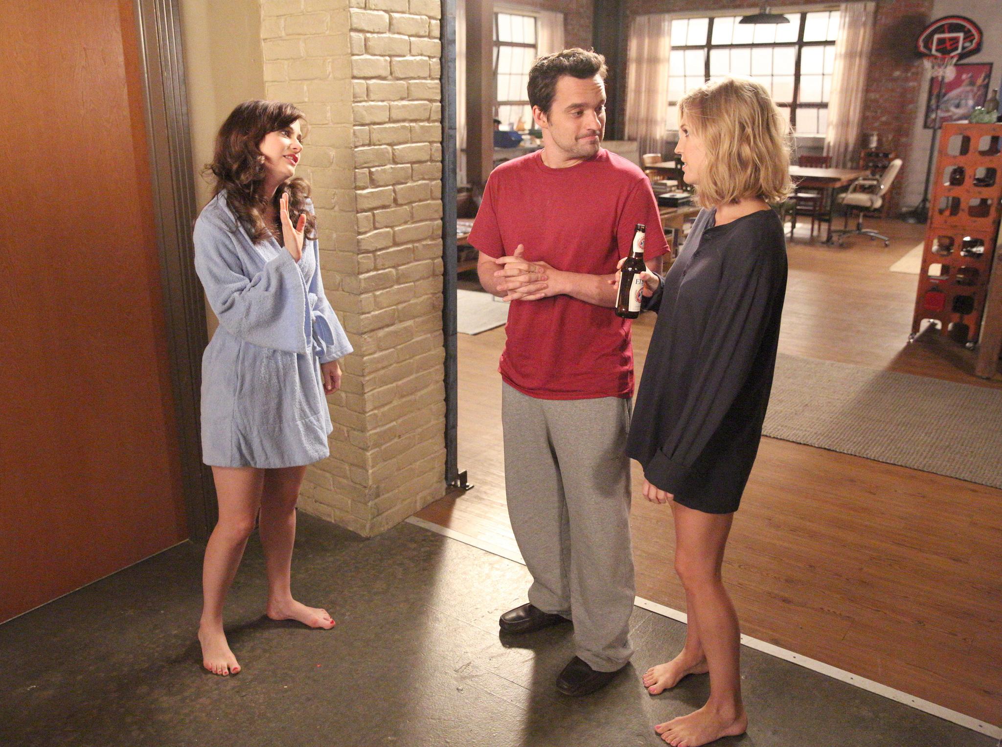 Zooey Deschanel, Amanda Lund, and Jake Johnson in New Girl (2011)
