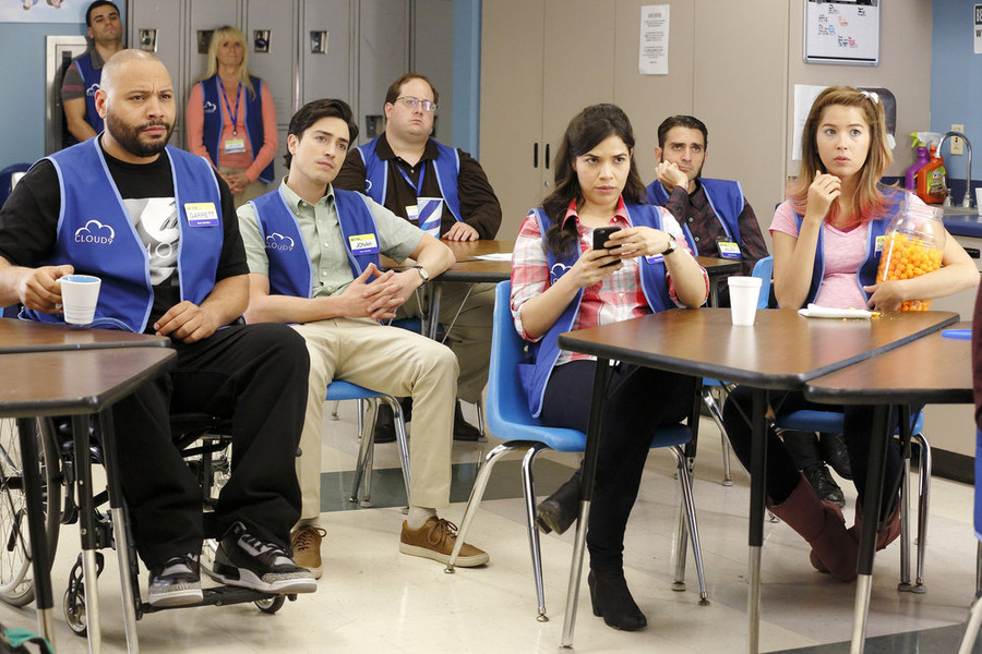 America Ferrera, Ben Feldman, Colton Dunn, and Nichole Bloom in Superstore (2015)