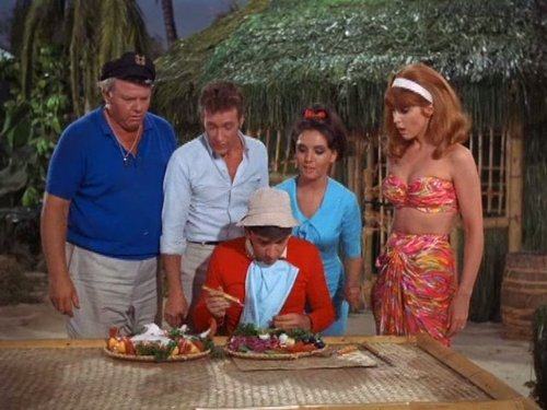 Bob Denver Alan Hale Jr Tina Louise Russell Johnson and Dawn Wells in Gilligans Island 1964