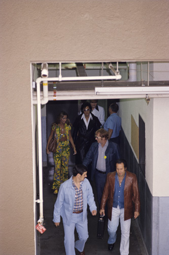 Elvis Presley with Linda Thompson, Red West and father Vernon circa 1970s