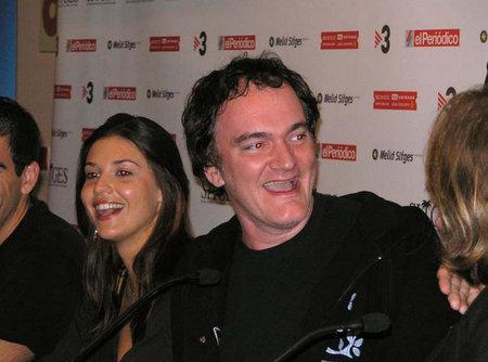 "Eli Roth, Barbara Nedeljakova, Quentin Tarantino and Greg Nicotero at the 2005 Sitges International Film Festival press conference for ""Hostel."""