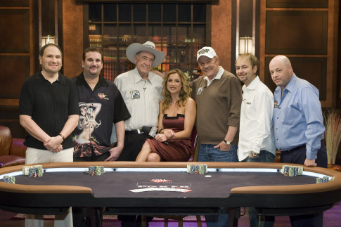 Jerry Buss, Shana Hiatt, Gabe Kaplan, Daniel Negreanu, Doyle Brunson, and Mike Matusow in Poker After Dark (2007)