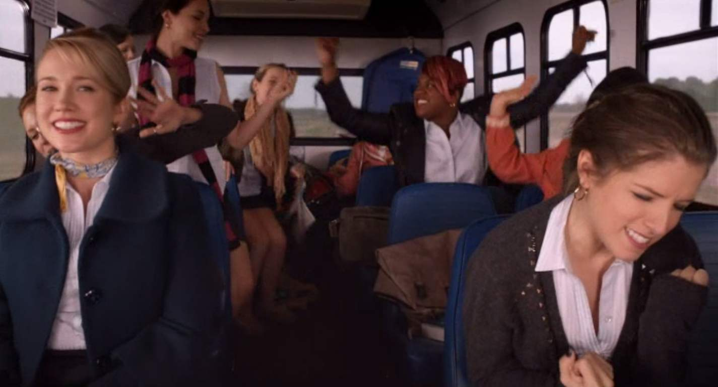 Anna Kendrick, Brittany Snow, Anna Camp, Hana Mae Lee, Alexis Knapp, Ester Dean, Wanetah Walmsley, Kelley Jakle, and Shelley Regner in Pitch Perfect (2012)