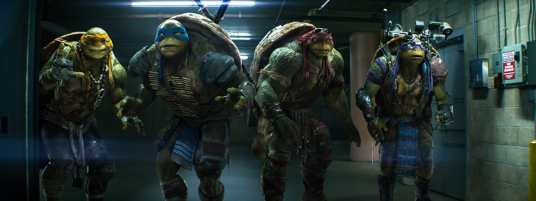 Noel Fisher, Jeremy Howard, Johnny Knoxville, and Alan Ritchson in Teenage Mutant Ninja Turtles (2014)